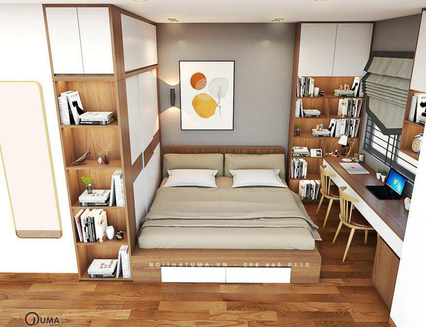 Toàn bộ các vận dụng, thiết bị nội thất trong căn phòng được thiết kế khá gọn gàng và ngăn lắp. Từ bàn làm việc, giường ngủ cho đến tủ để đồ hay kệ trang trí. Tất cả mọi thứ đều được thiết kế theo sự đồng nhất, ngăn lắp và ấn tượng.