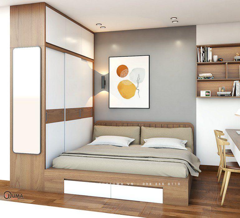 Phòng ngủ thứ 2 cũng được thiết kế với kiểu dáng tương tự, nhưng với bộ tủ trang trí được thiết kế khác biệt, là cánh tủ bộp để đồ ký bên trong.
