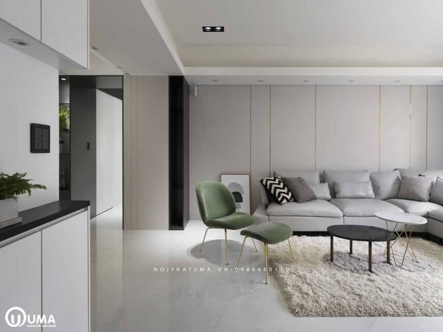 Bộ sofa hình chữ L độc đáo màu sắc nhã nhặn, kệ tivi, rèm cửa, thảm trải sàn lông