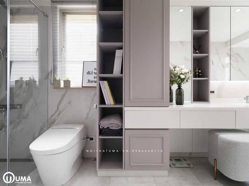 Có tủ để đồ khá đẹp và ấn tượng, được thiết kế với nhiều ngăn chứa đồ tiện dụng.