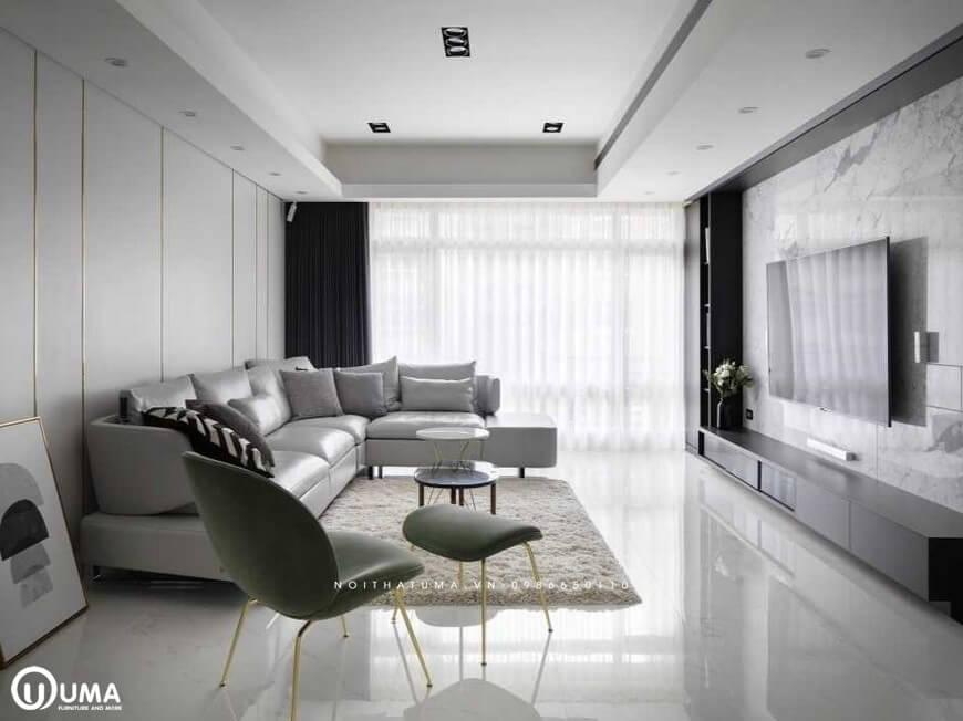 Toàn bộ không gian phòng khách được hưởng trọn ánh sáng tự nhiên chiếu vào căn phòng