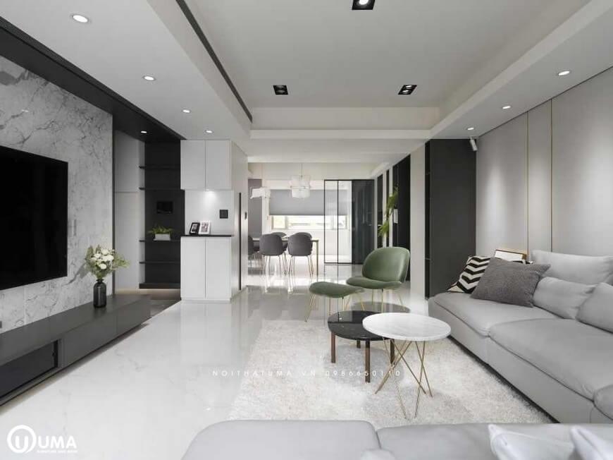 Chiếc bàn tròn nhỏ 2 tầng được đặt giữa không gian phòng khách