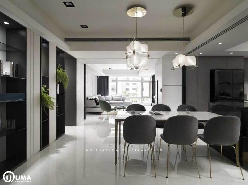 Chiếc bàn ăn được thiết kế dùng cho 6 người ngồi với mà sắc nâu xám