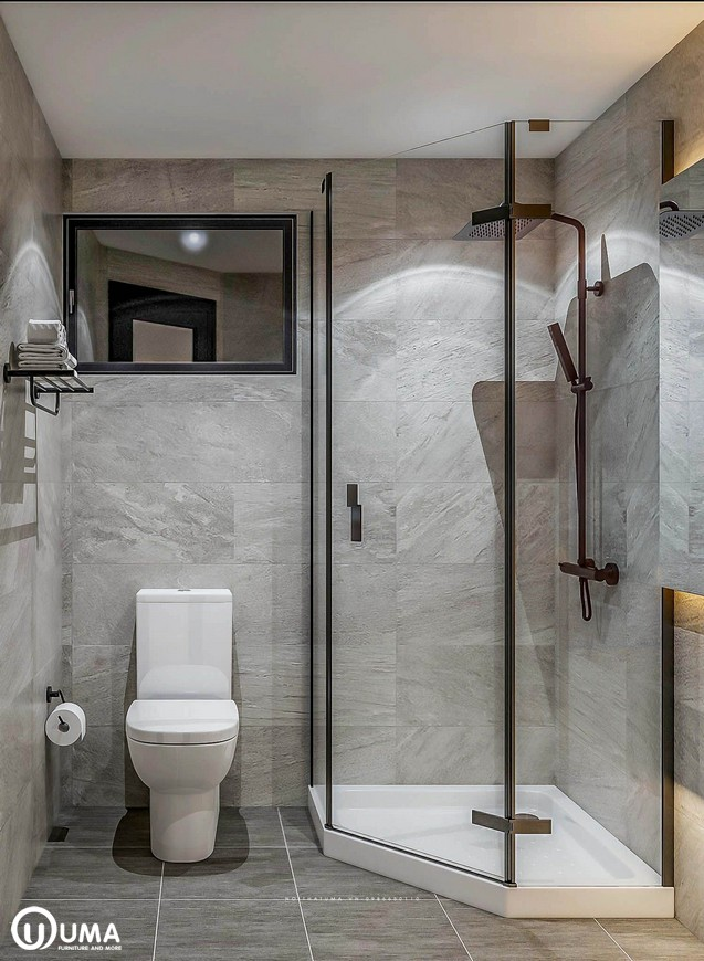 Thiết kế nội thất phòng vệ sinh lớn nhà chị Mai