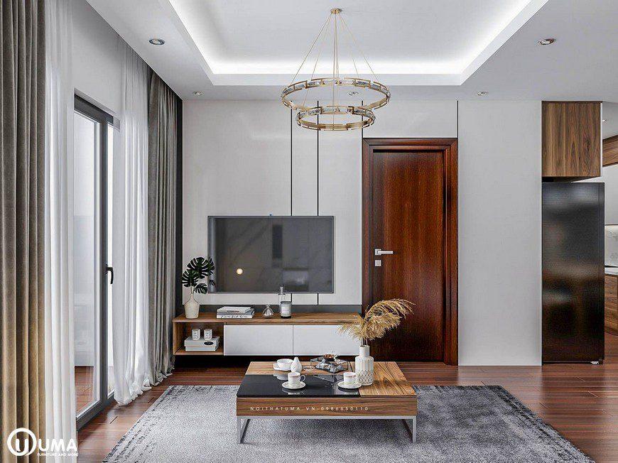 Thiết kế nội thất phòng khách chung cư Mipec nhà chị Mai