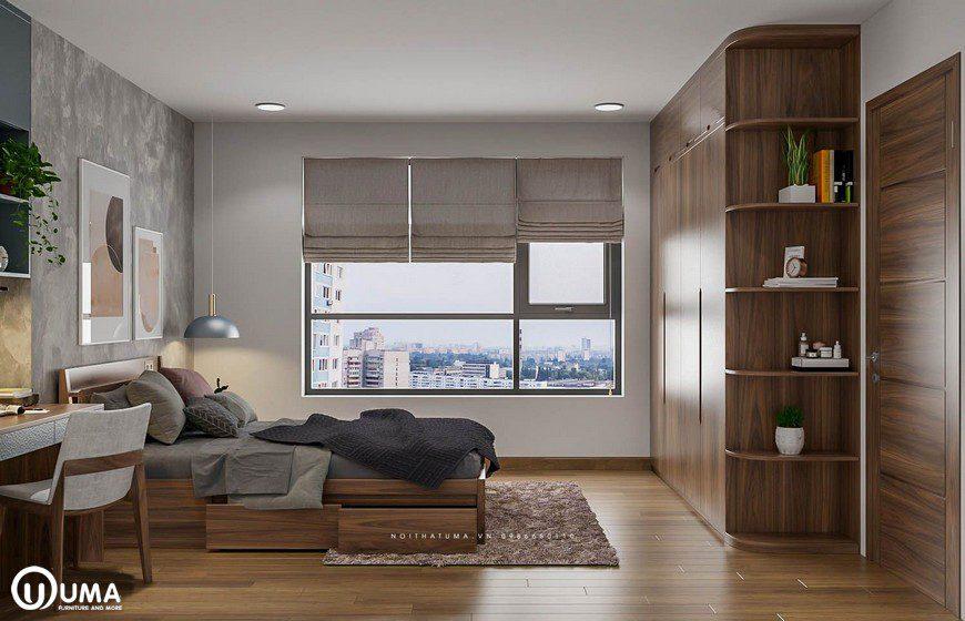Phòng ngủ được hưởng trọn sánh sáng tự nhiên chiếu vào phòng thông qua ô cửa kính.