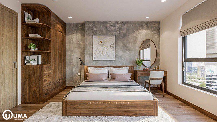 Chiếc giường là điểm nhấn ấn tượng của căn phòng, được đặt giữa phòng ngủ.