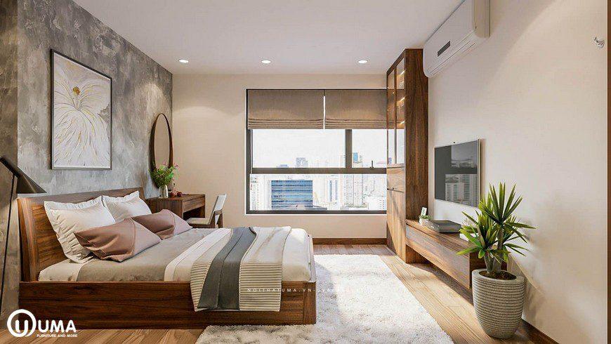 Toàn bộ không gian phòng ngủ được hưởng trọn ánh sáng tự nhiên chiếu vào phòng, thông qua ô cửa sổ nhỏ
