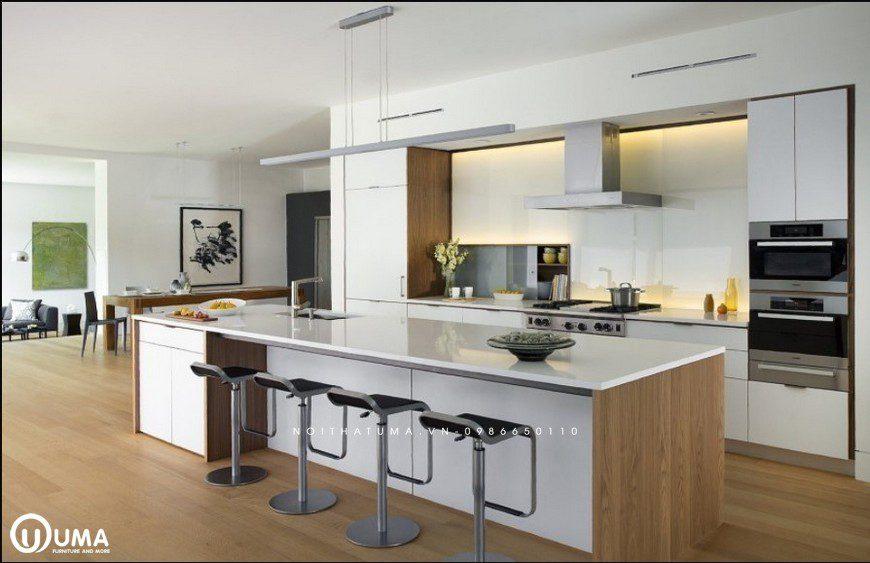 Mẫu tủ bếp hiện đại đẹp gỗ laminate