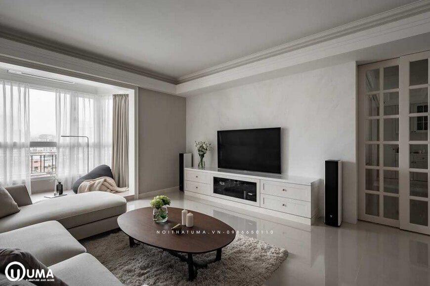 Toàn bộ không gian phòng khách hứng trọn với ánh sáng tự nhiên chiếu vào căn phòng