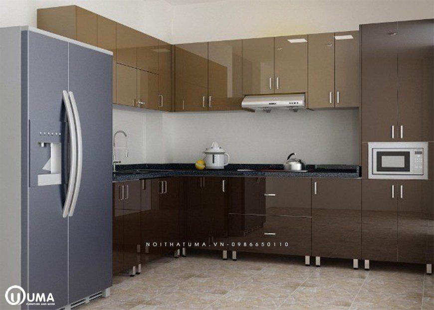Mẫu tủ bếp thùng Inox chữ L tại Thanh Trì