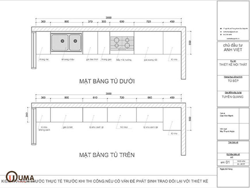 Mặt bằng bản vẽ tủ bếp chữ I – Mẫu 3