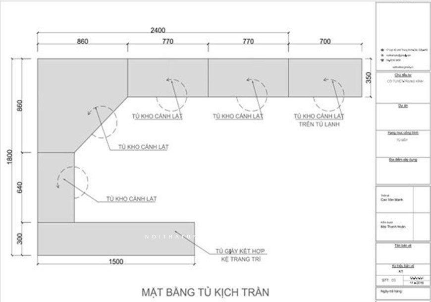 Mẫu 1: Bản thiết kế tủ bếp chữ L