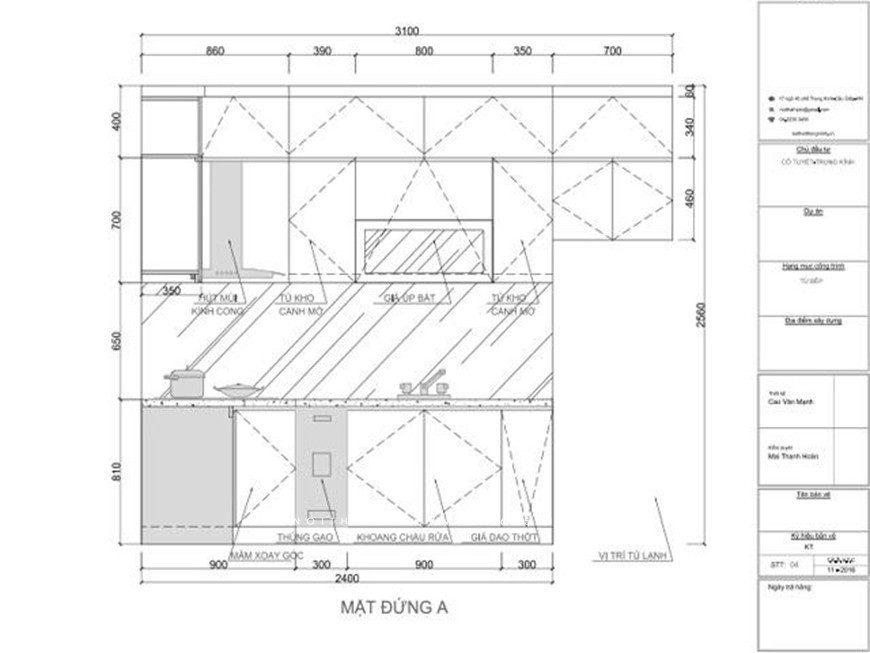 Mẫu 4: Bản thiết kế tủ bếp chữ L