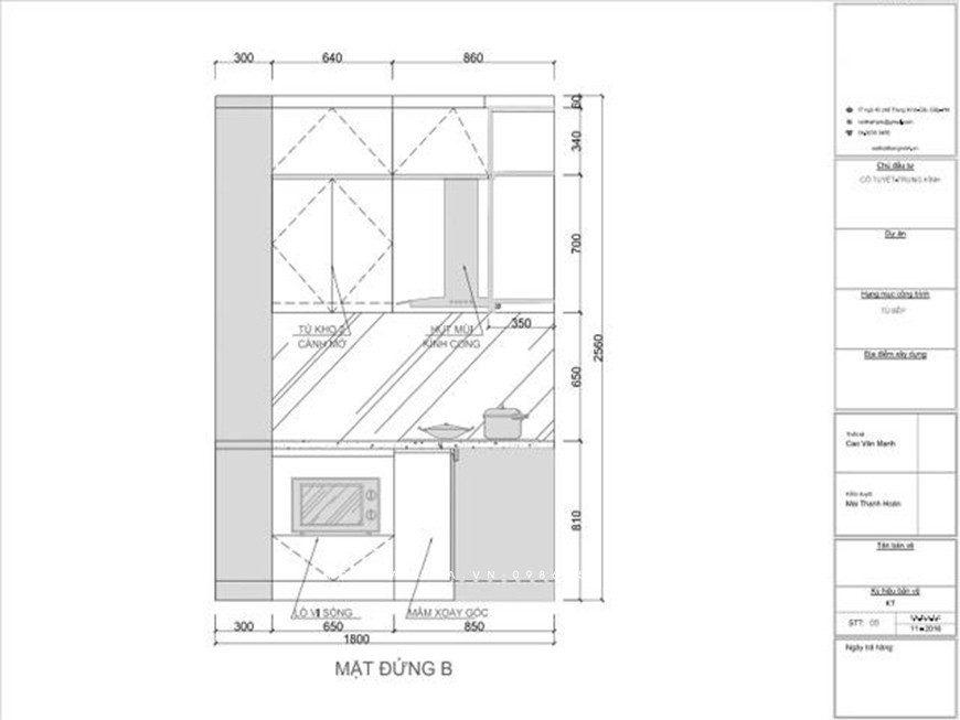Mẫu 5: Bản thiết kế tủ bếp chữ L