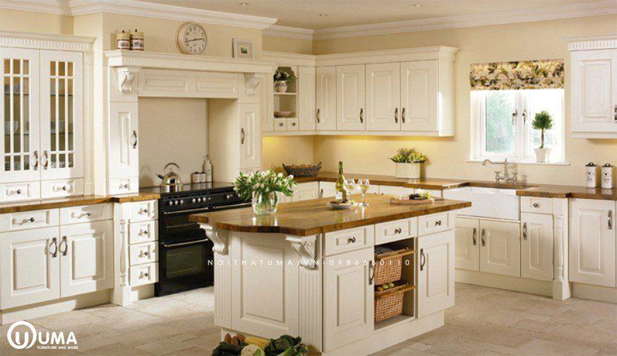 Tủ bếp chữ L mang phong cách Châu u