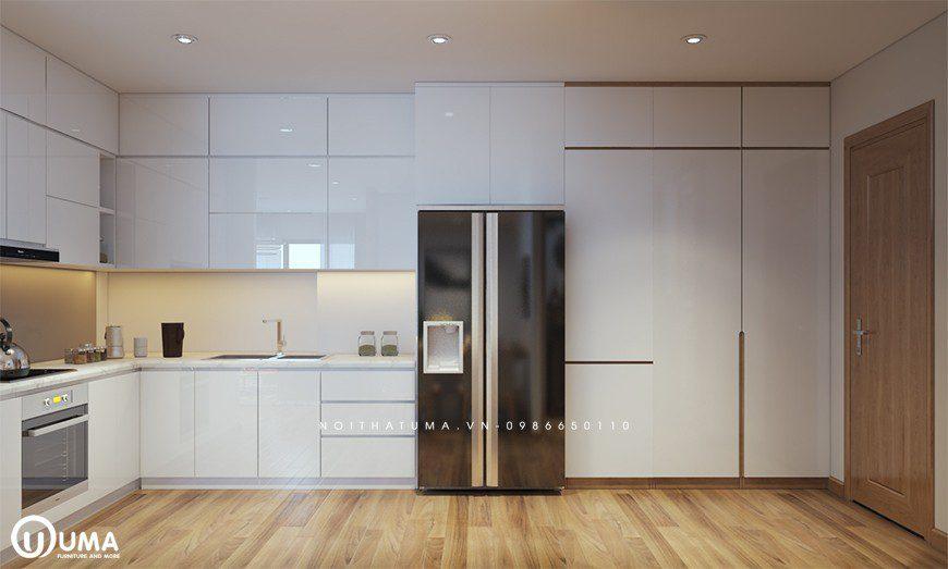 Tủ bếp chữ L đẹp cho chung cư