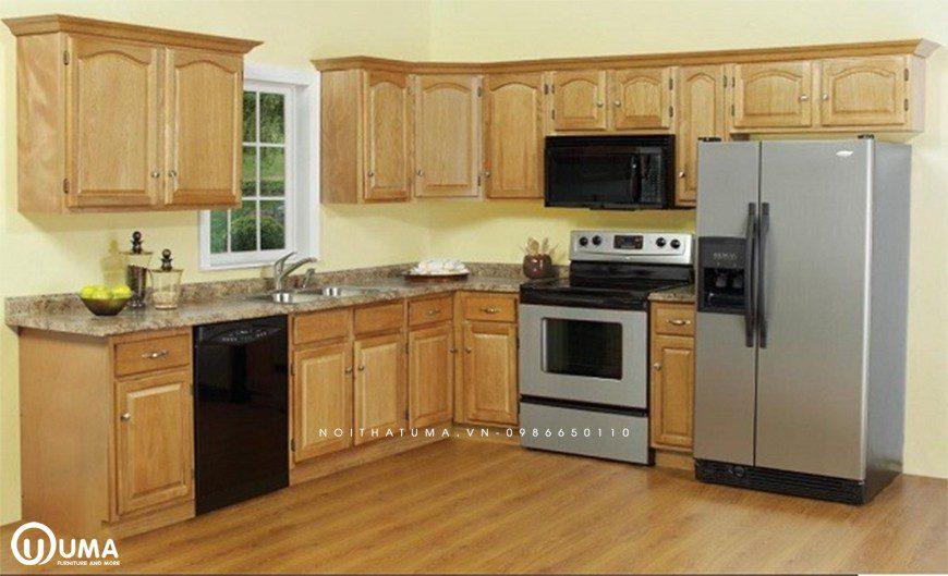 Mẫu tủ bếp gỗ Sồi Nga được ưa chuộng