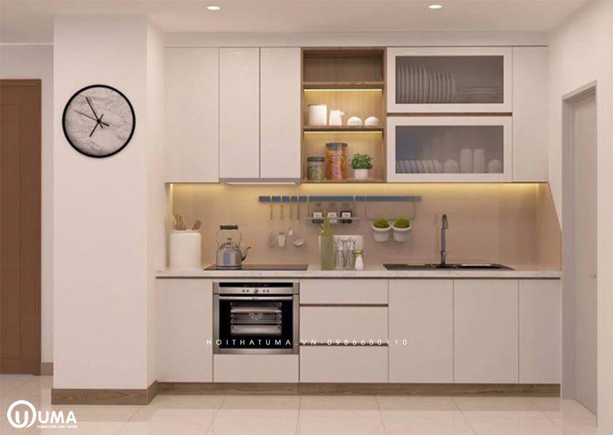 Mẫu tủ bếp chữ I được thiết kế theo không gian