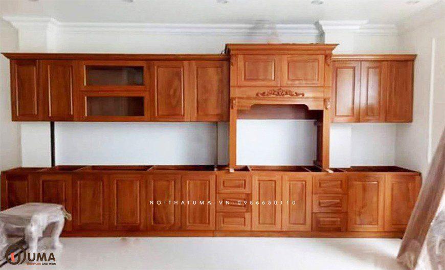 Mẫu 3 - Tủ bếp chữ I gỗ Gõ Đỏ
