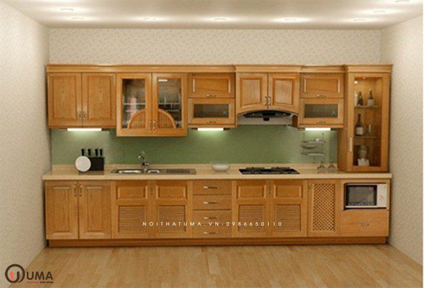 Mẫu 4 - Tủ bếp chữ I gỗ Sồi Mỹ
