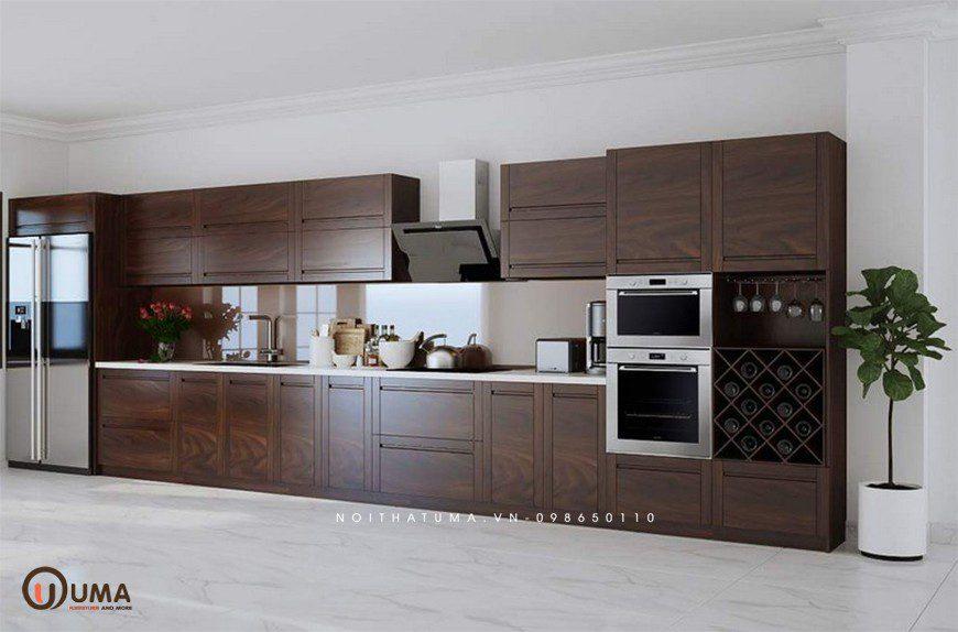 Tủ bếp chữ I phù hợp với không gian bếp