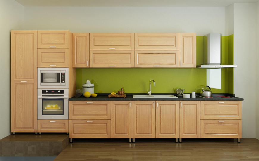 Mẫu 1 - Tủ bếp gỗ Sồi Mỹ