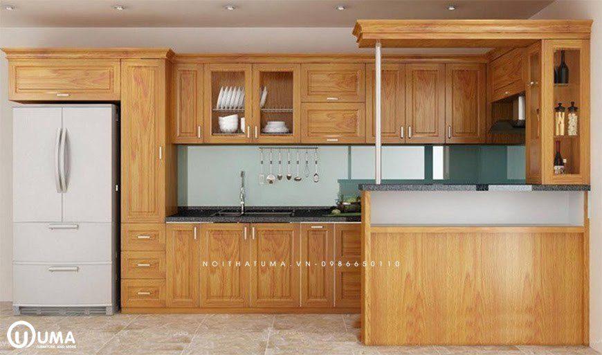 Tủ bếp gỗ có quầy bar