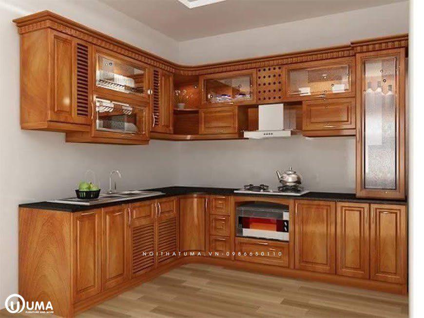Mẫu 1 - Tủ bếp chữ L gỗ Gõ Đỏ
