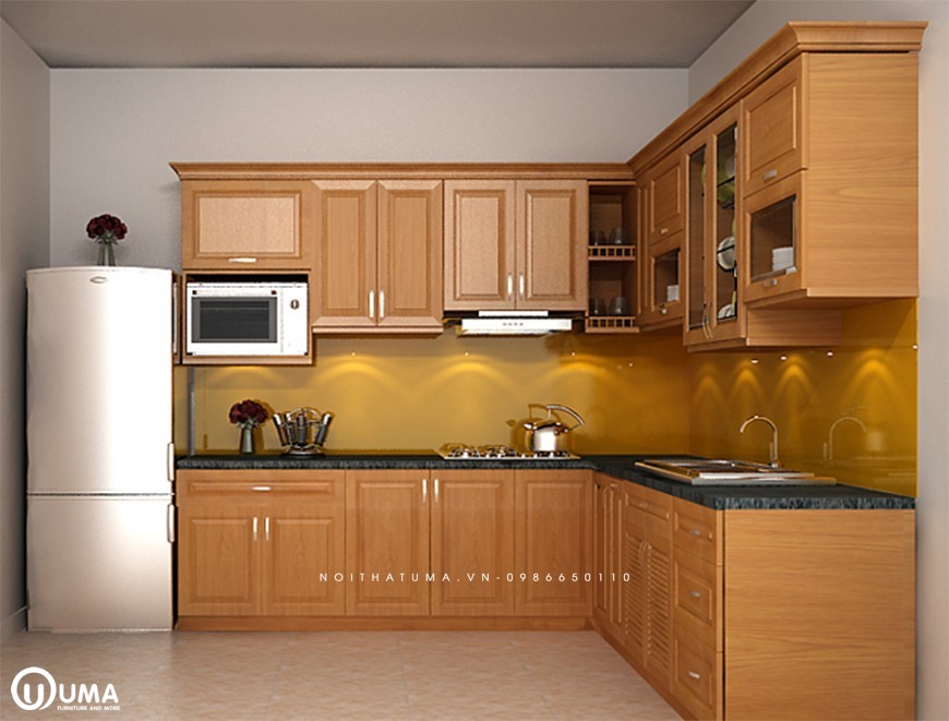 Mẫu 2 - Tủ bếp gỗ Sồi Nga Hoàng Anh