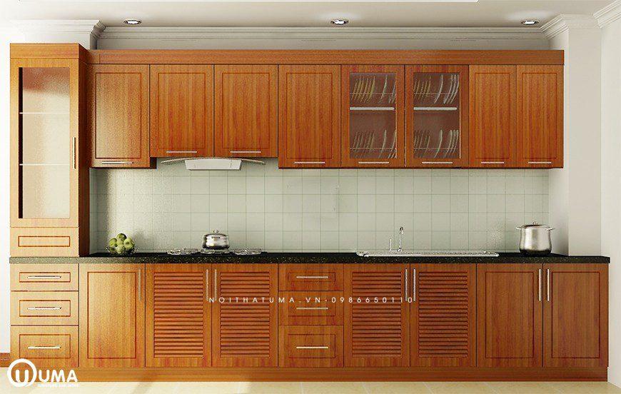 Mẫu 2 - Tủ bếp chữ I gỗ Xoan Đào