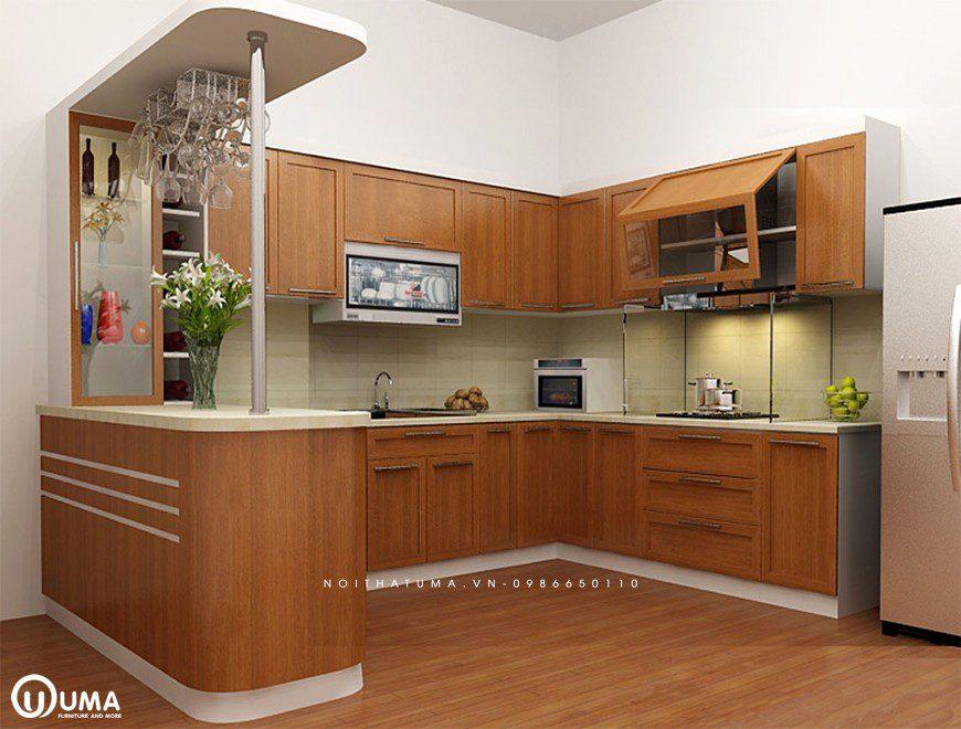 Mẫu 2 - Tủ bếp gỗ Xoan Đào có quầy bar