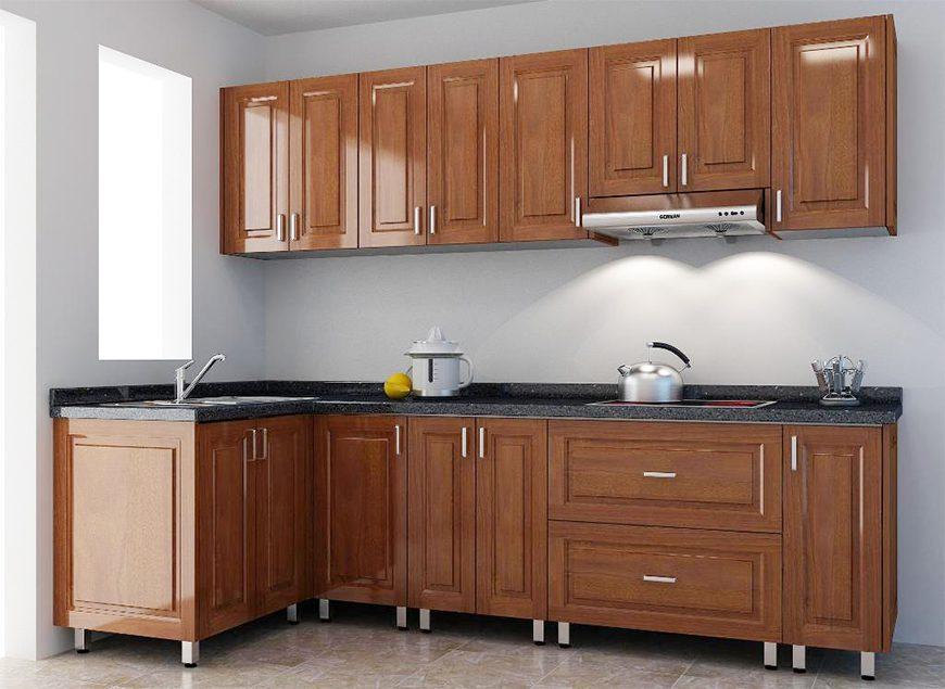 Mẫu 1 - Tủ bếp thùng Inox cánh gỗ tự nhiên