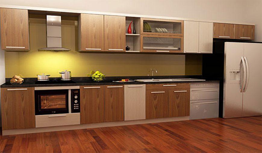 Mẫu 1 - Tủ bếp tự nhiên kết hợp cánh gỗ công nghiệp
