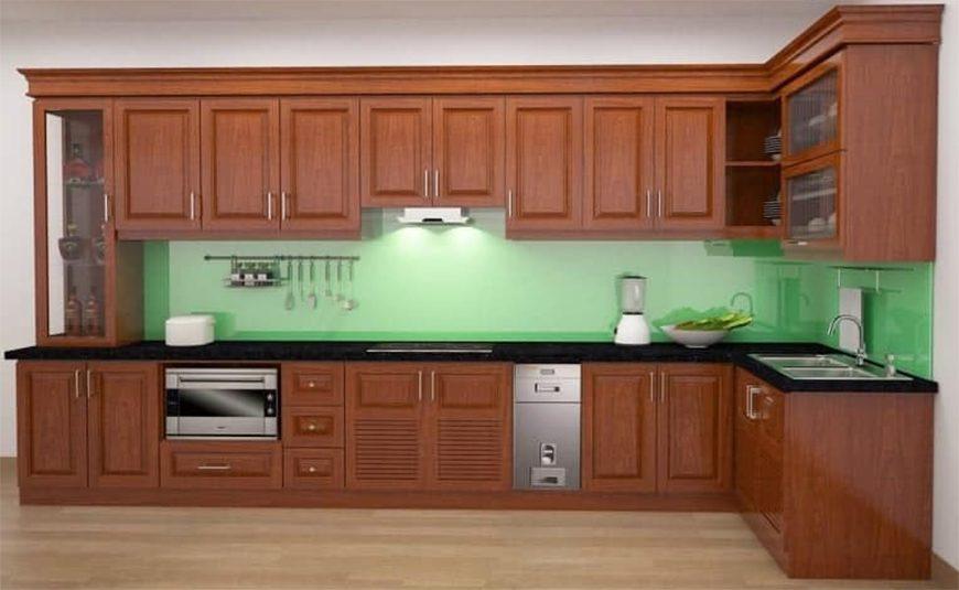 Mẫu 2 - Tủ bếp tự nhiên kết hợp cánh gỗ công nghiệp