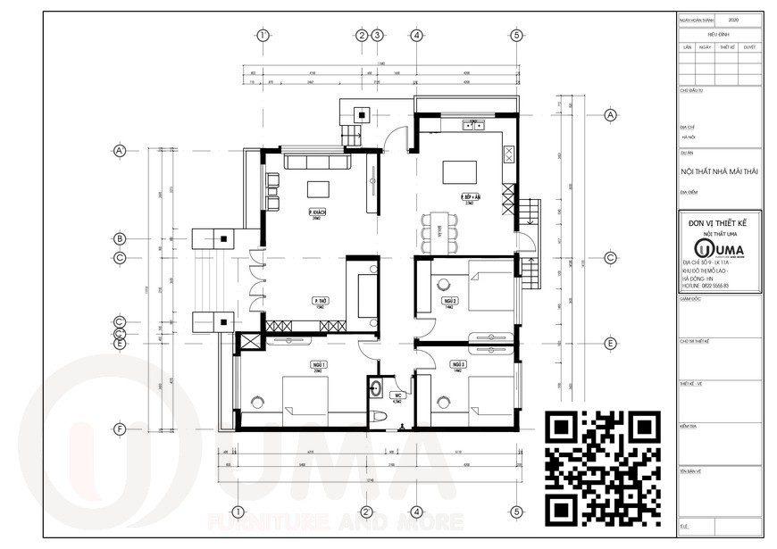 MẬT BẰNG THIẾT KẾ Nhà cấp 4 mái thái 1 tầng 24m x 30m cho gia đình 4 người tại Hà Nam