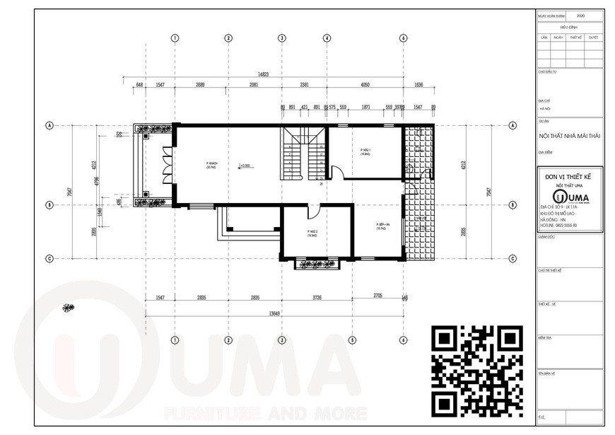 Mặt bằng thiết kế tầng 1 Nhà cấp 4 mái thái 2 tầng 30m x 15m 5 phòng ngủ tại Bắc Giang