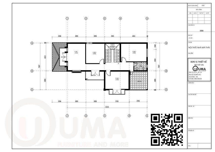 Mặt bằng thiết kế tầng 2 Nhà cấp 4 mái thái 2 tầng 30m x 15m 5 phòng ngủ tại Bắc Giang