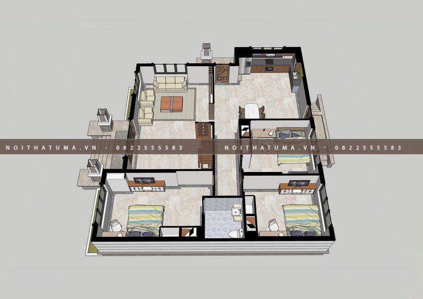 phối cảnh mặt bằng Nhà cấp 4 mái thái 1 tầng 24m x 30m cho gia đình 4 người tại Hà Nam